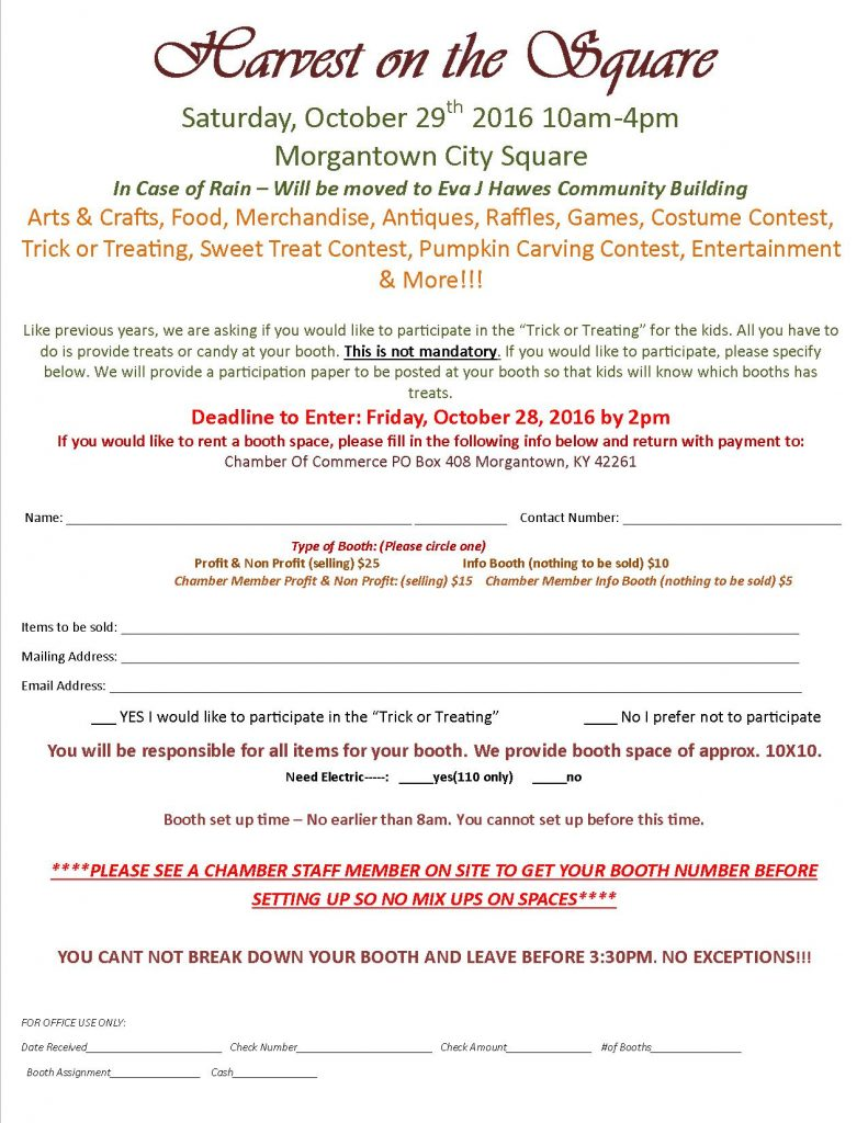 Harvest on the square 2016 booth application